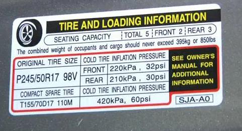 tire pressure recommendation on vehicle