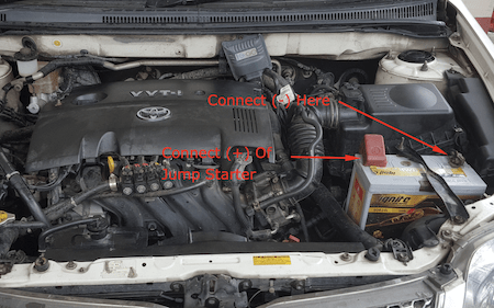 where to connect jump starter cables